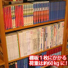 棚板一枚あたりの雑誌重量は50kg超