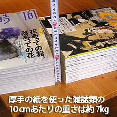 厚手のコート紙を使った雑誌の10cmあたりの重さは約7kg